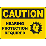 CAUTION Hearing Protection Required Sign w/Symbol