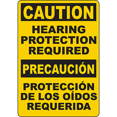 CAUTION Hearing Protection Required Bilingual Sign