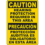 CAUTION Hearing Protection Required In This Area Bilingual Sign
