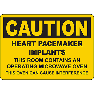 CAUTION Heart Pacemaker Implants Interference Sign