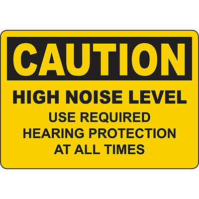 CAUTION Use Required Hearing Protection Sign