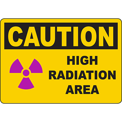 CAUTION Radiation Area Monitoring Required Sign