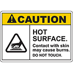 CAUTION Hot Surface Contact With Skin May Cause Burns Sign