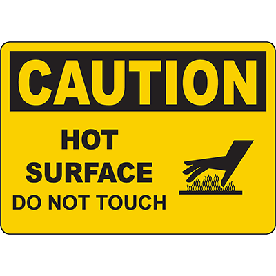CAUTION Hot Surface Do Not Touch Sign w/Symbol