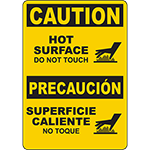 CAUTION Hot Surface Bilingual Sign