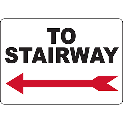 To Stairway Left arrow Sign