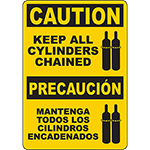 CAUTION Keep All Cylinders Chained Bilingual Sign