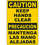 CAUTION Keep Hands Clear Bilingual Sign