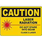 CAUTION Laser Radiation Do Not Stare Into Beam Sign
