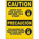 CAUTION Lock Out For Safety Before You Start Bilingual Sign