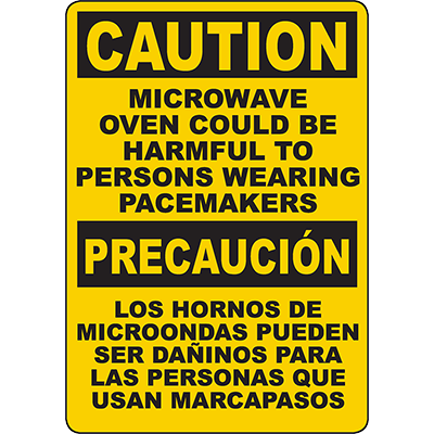 CAUTION Microwave Oven Harmful To Pacemakers Bilingual Sign