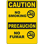 CAUTION No Smoking Bilingual Sign