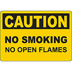 CAUTION No Smoking No Open Flames Sign