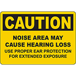 CAUTION Noise Area May Cause Hearing Loss Sign