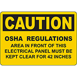 CAUTION Panel Must Be Kept Clear For 42 Inches Sign