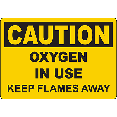 CAUTION Oxygen In Use Keep Flames Away Sign