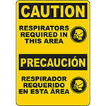 CAUTION Respirators Required In This Area Bilingual Sign