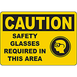 CAUTION Safety Glasses Required In This Area Sign w/Symbol