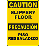CAUTION Slippery Floor Bilingual Sign