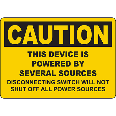 CAUTION Device Is Powered By Several Sources Sign
