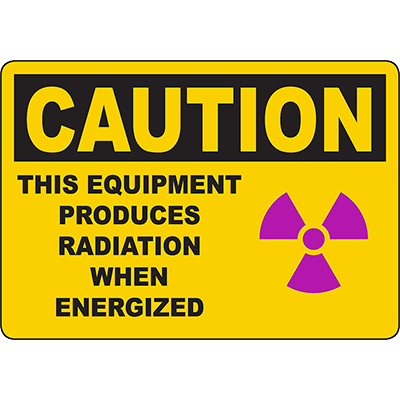 CAUTION This Equipment Produces Radiation When Energized Sign