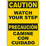 CAUTION Watch Your Step Bilingual Sign