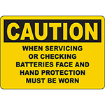 CAUTION Batteries Protection Must Be Worn Sign