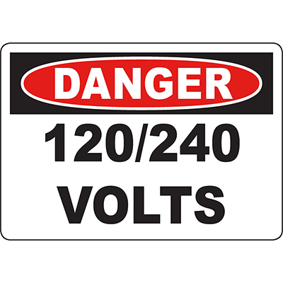 DANGER 12/24 Volts Sign