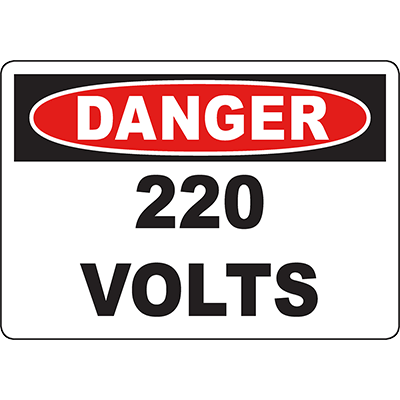 DANGER 22 Volts Sign