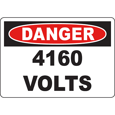DANGER 416 Volts Sign