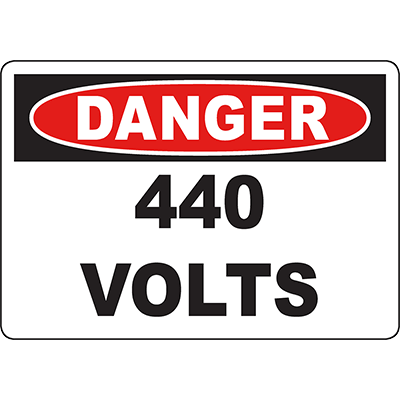DANGER 44 Volts Sign