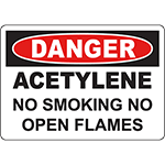 DANGER Acetylene No Smoking No Open Flames Sign