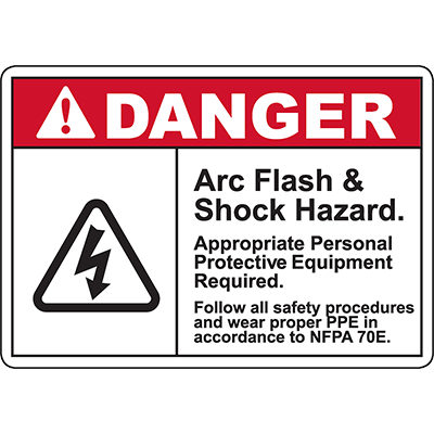 DANGER Arc Flash & Shock Hazard Sign