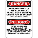 DANGER Electrical Panel Must Be Kept Clear Bilingual OSHA Sign