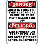 DANGER Electrical Panel Must Be Kept Clear 36-Inches Bilingual Sign