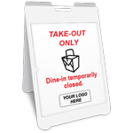 Take-Out Only Dine-IN Temporarily Closed A-Frame Sign