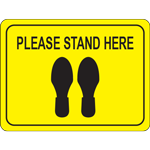 Please Stand Here Rectangle Floor Sign