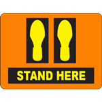 Stand Here Orange Rectangle Floor Sign