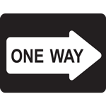 One Way Rectangle Floor Sign