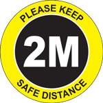 Please Keep Safe Distance 2M Circle Floor Sign