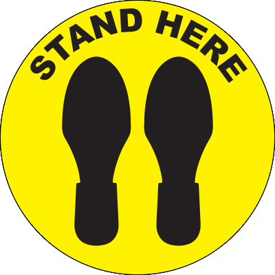 Stand Here Circle Floor Sign