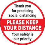 Please Keep Your Distance Red/White Circle Floor Sign