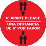 6` Apart Please Multilingual Circle Floor Sign