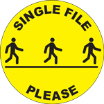 Single File Please Circle Floor Sign