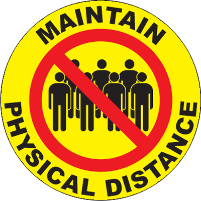 Maintain Physical Distance Circle Floor Sign