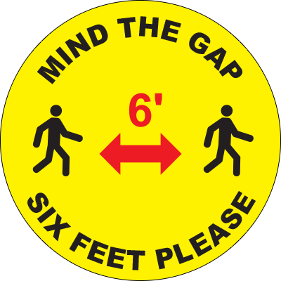 Mind The Gap 6` Circle Floor Sign
