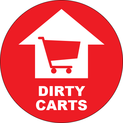 Dirty Carts Arrow Circle Floor Sign