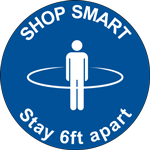 Shop Smart Stay 6ft Apart Circle Floor Sign