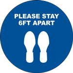 Please Stay 6ft Apart Circle Floor Sign