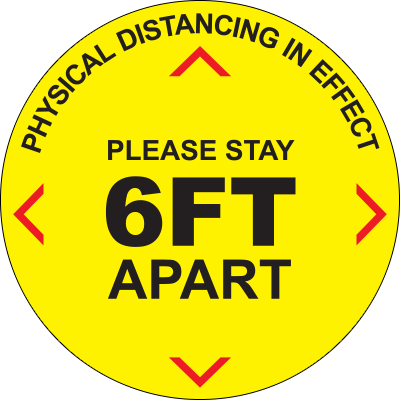 Physical Distancing in Effect Circle Floor Sign